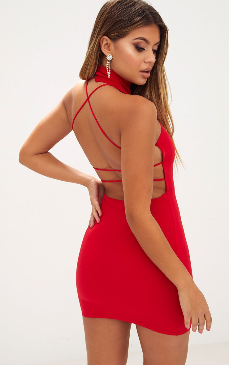 Red Lace Up Back Extreme High Neck Detail Bodycon Dress Pretty Little Thing Buy Cheap Limited Edition Discount Find Great Buy Cheap Latest Collections Buy Cheap Good Selling Low Price Fee Shipping Online iE2Kp1