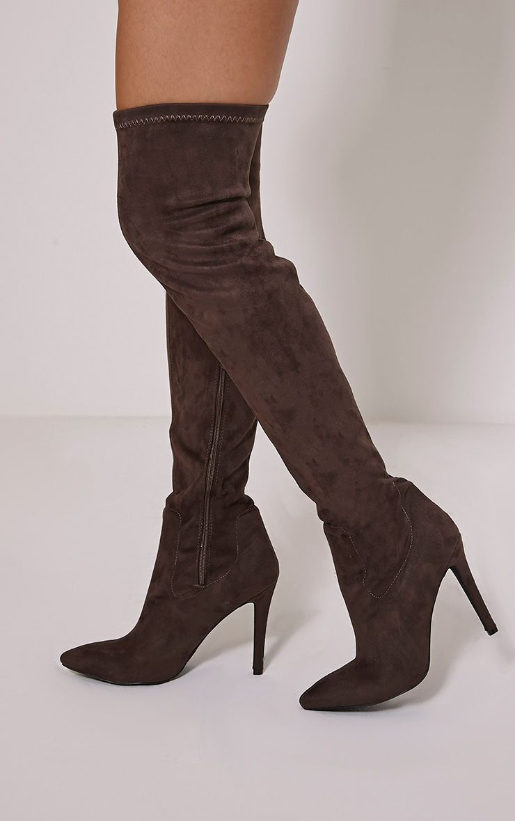 Cher Taupe Faux Suede Over The Knee Pointed Boots 1