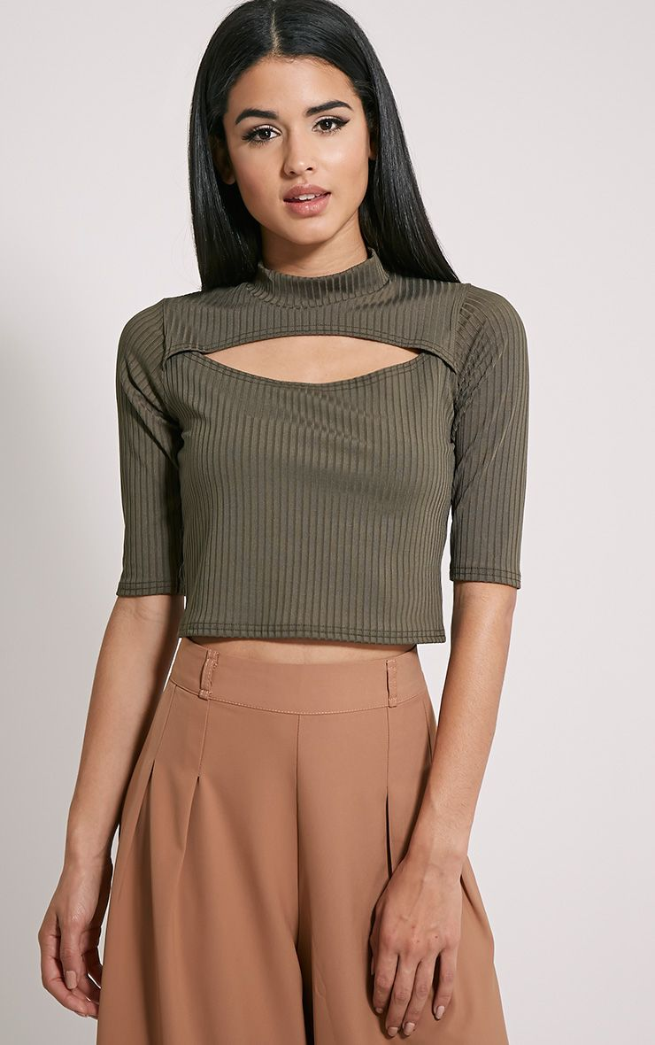 Claire Khaki Ribbed Cut Out Crop Top 1
