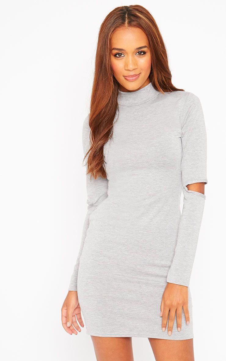 Basic Grey Slit Elbow Mini Dress 1