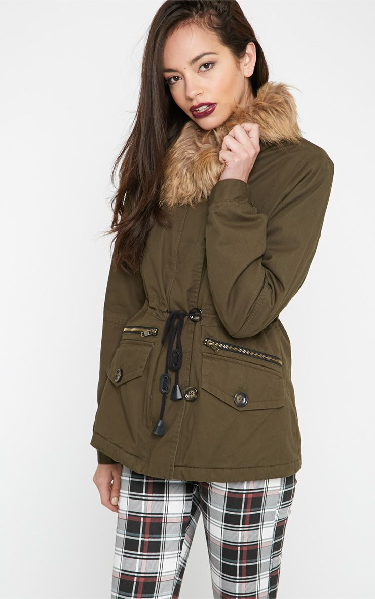 Teagan Khaki Short Length Parka 1