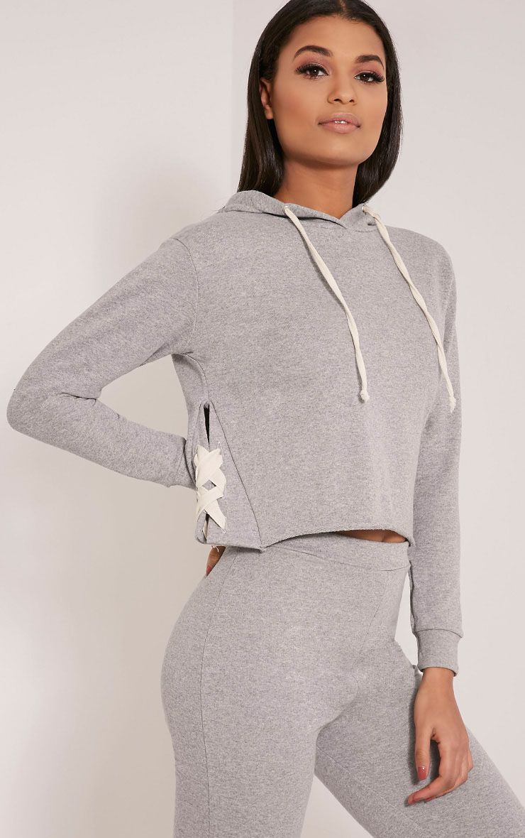 Pia Grey Lace Up Side Cropped Sweater 1