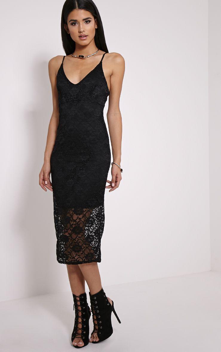 Adira Black Lace Midi Dress 1