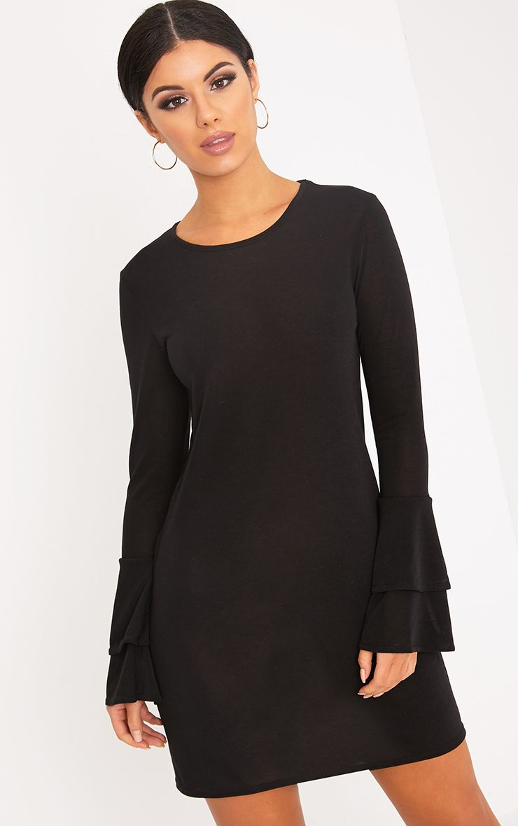 Marlini Black Double Frill Sleeve Knitted Mini Dress