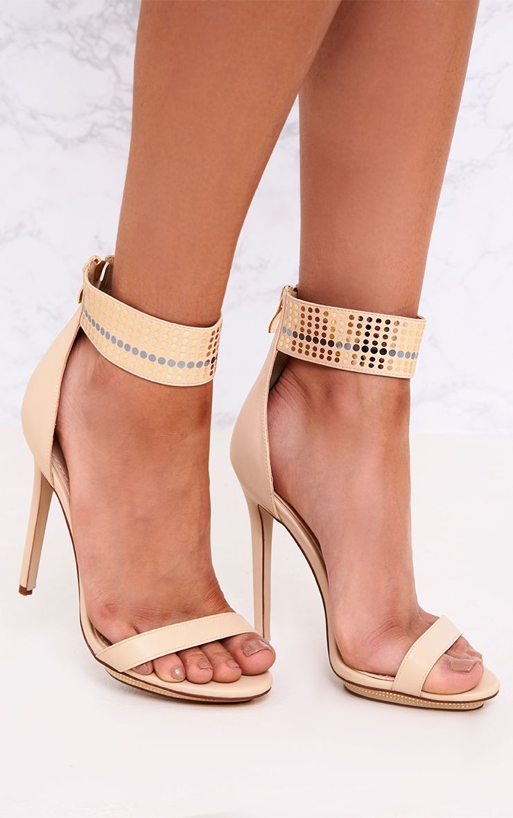 Mahira Nude Embellished Platform Strappy Heels