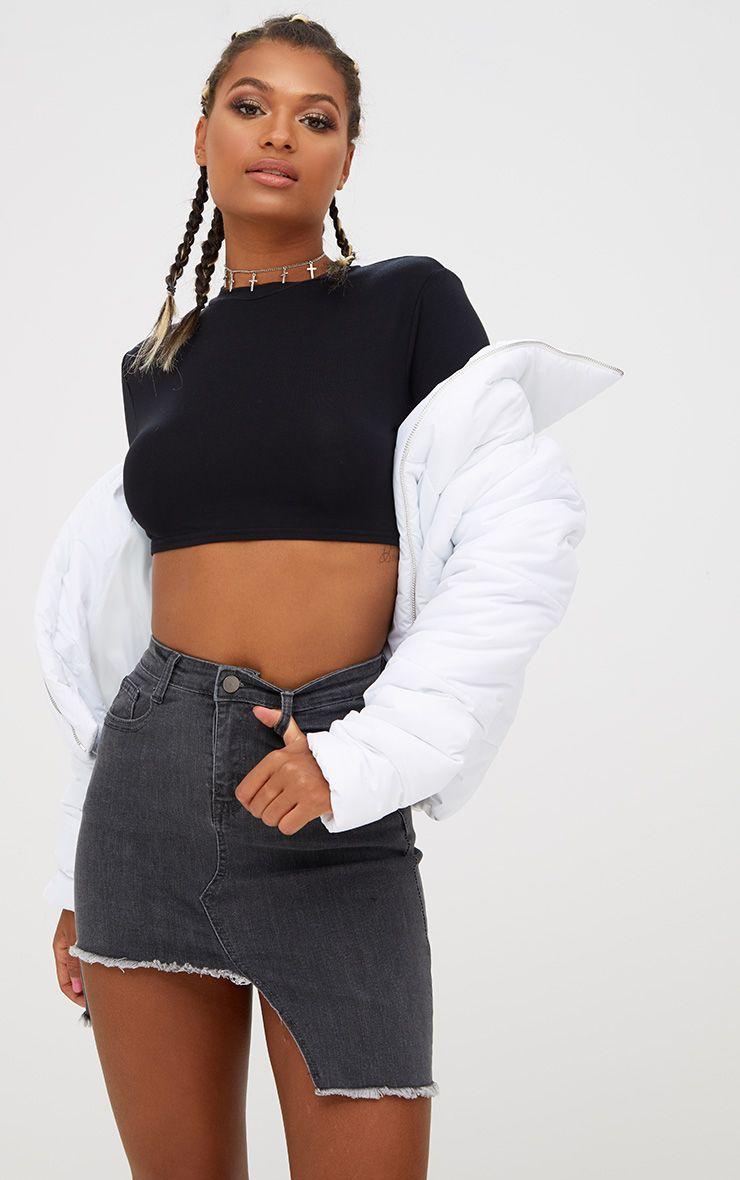 Black Step Hem Denim Mini Skirt