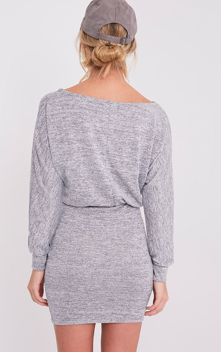 Lerie Grey Waist Fitted Knit Dress 2