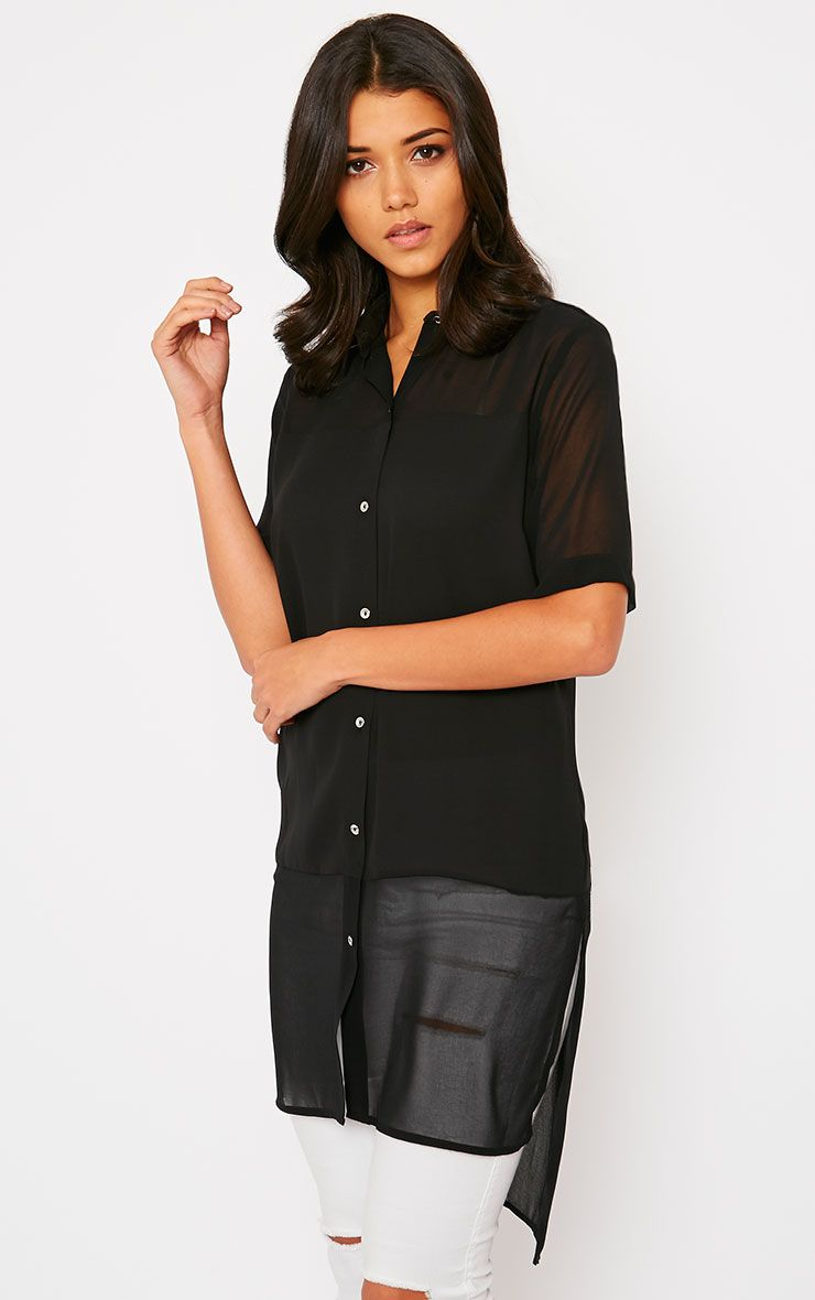 Lindy Black Short Sleeve Sheer Blouse 1