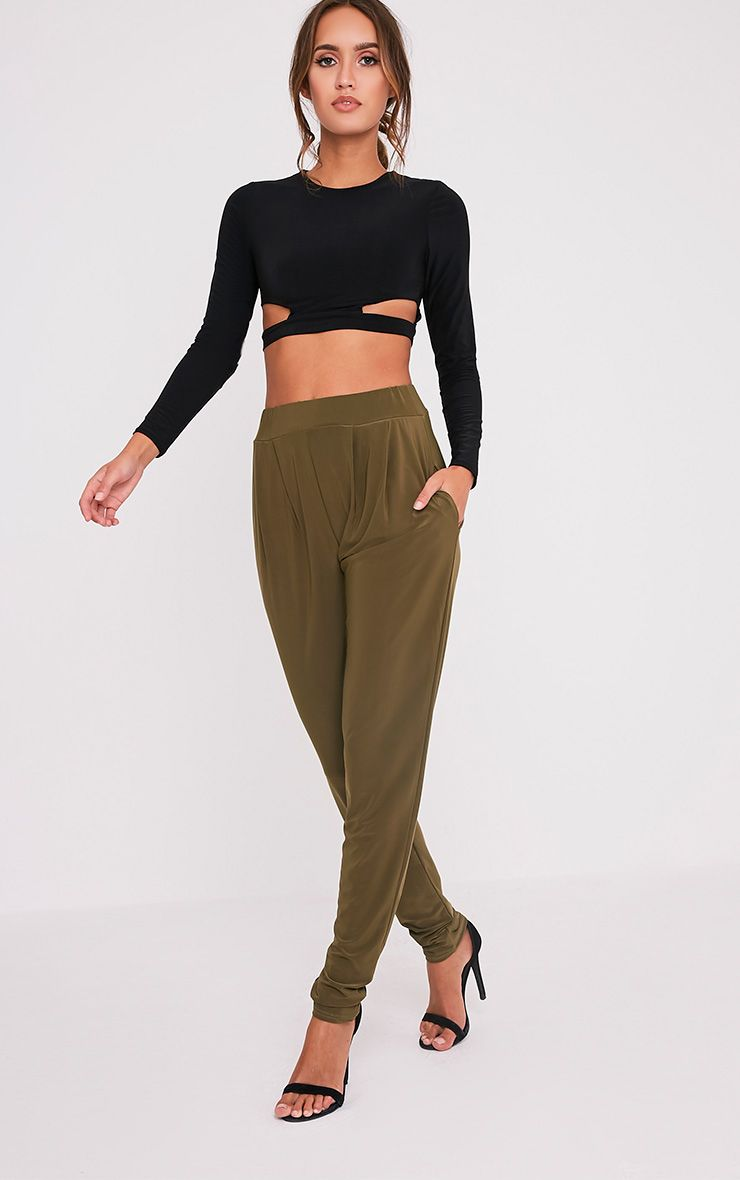 Rinda Khaki Slinky High Waisted Peg Trousers 1