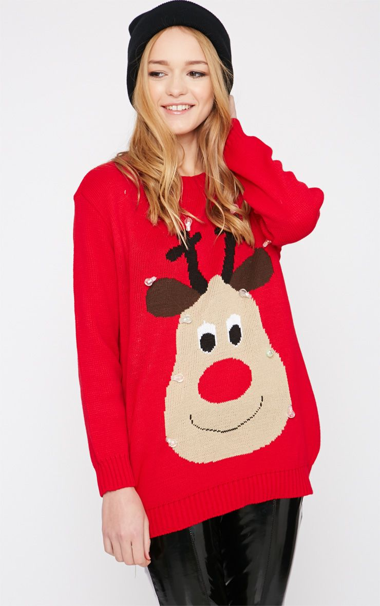 Jenny Red Light Up Reindeer Christmas Jumper 1