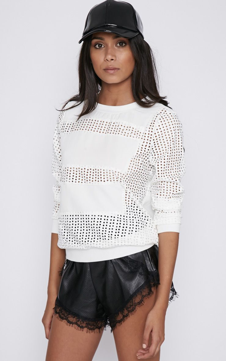 Colette White Leather Perforated Jumper  1
