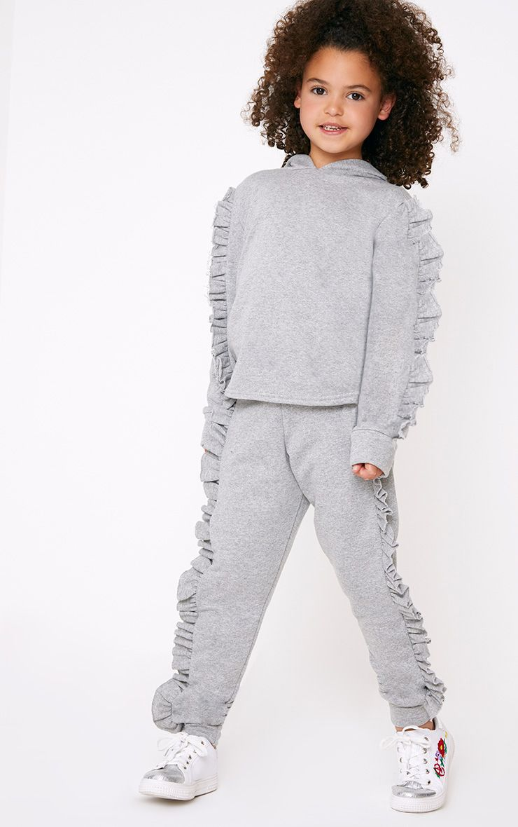 Frill Side Grey Marl Joggers