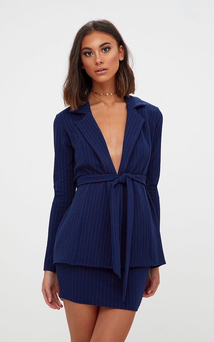 Navy Pinstripe Suit Skirt