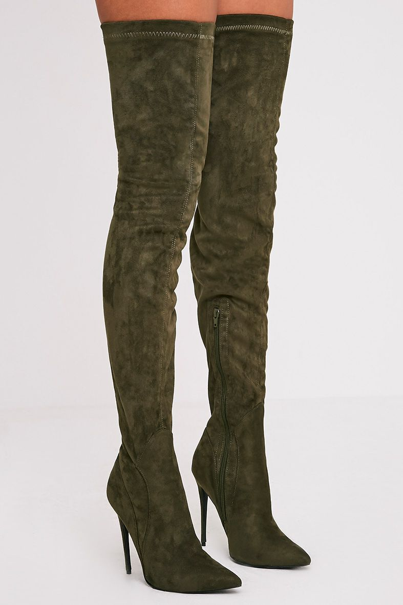 Emmie Khaki Faux Suede Extreme Thigh High Heeled Boots 1