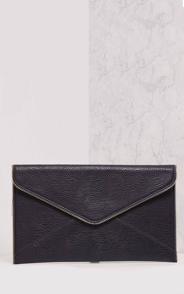 Penny Black Zip Trim Clutch