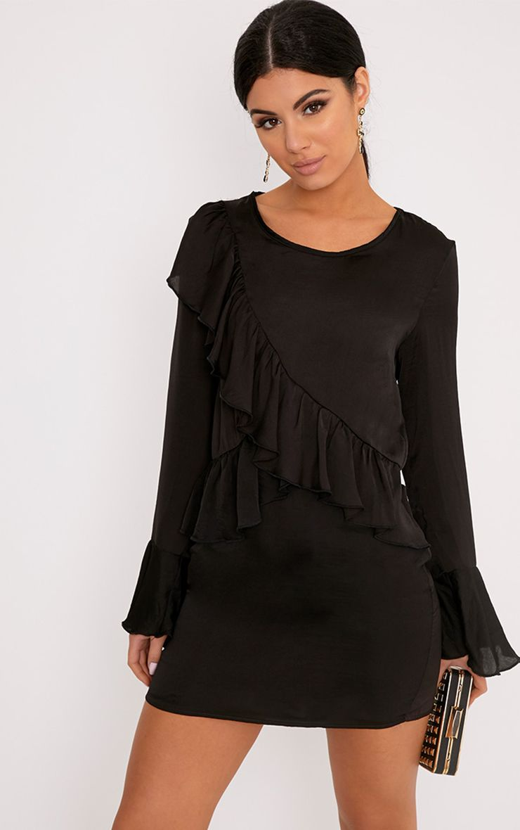 Joycelyn Black Frill Detail Satin Shift Dress