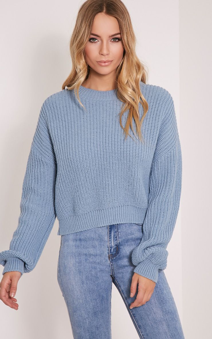 Cara Dusty Blue Knitted Crop Jumper 1