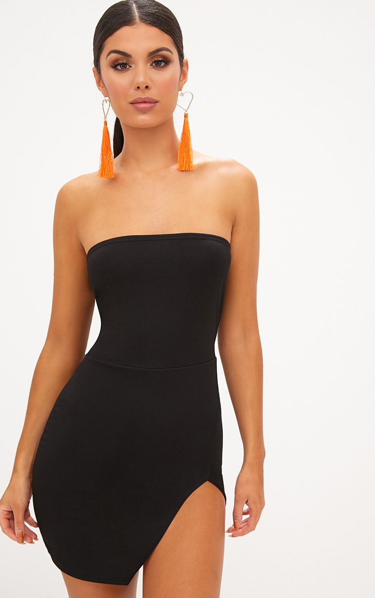 Black Extreme Split Bandeau Bodycon Dress