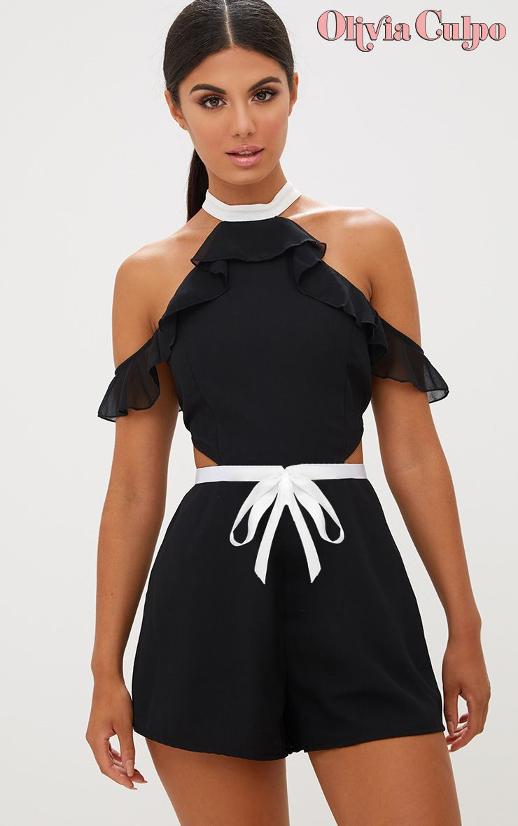 Black Ruffle Cold Shoulder Detail Contrast Playsuit
