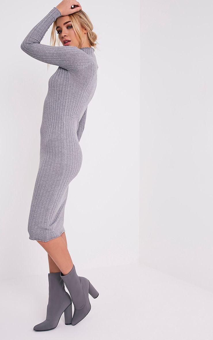Katalina robe midi grise tricotée à côtes larges 4