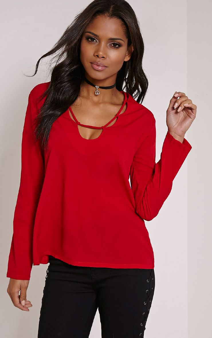 Remie Red Lace Up Floaty Blouse 1