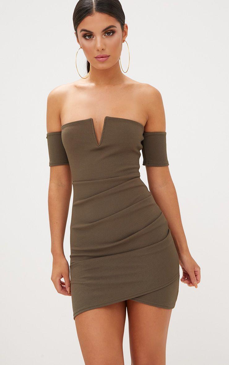 Khaki Bardot Wrap Front Bodycon Dress