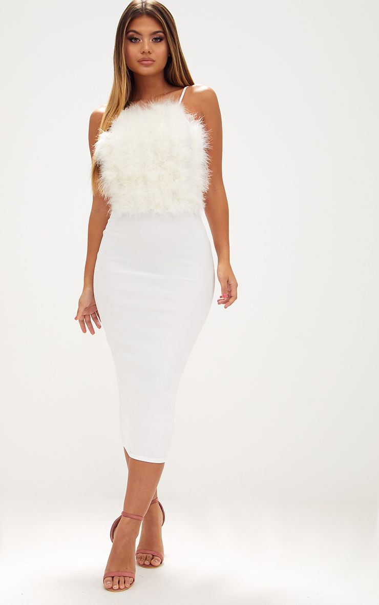 White Feather Bust Strappy Midi Dress