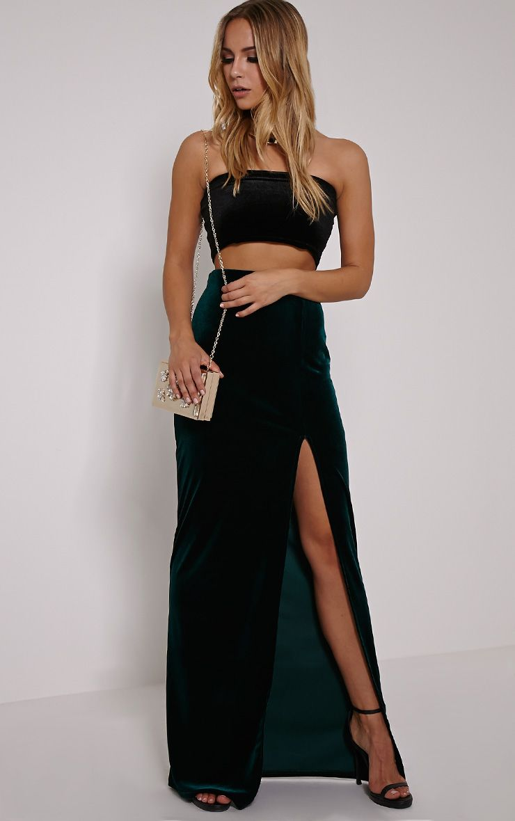 Caitlin Bottle Green Velvet Side Split Maxi Skirt 1