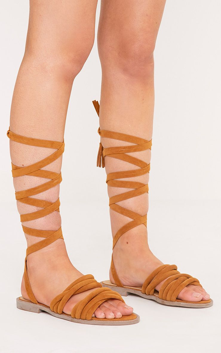 Marietta Tan Faux Suede Lace Up Sandals