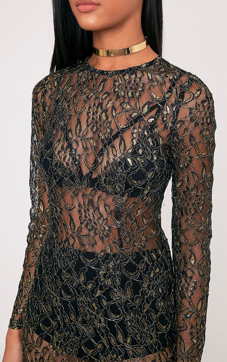 Diania Black Sheer Lace Long Sleeve Shift Dress