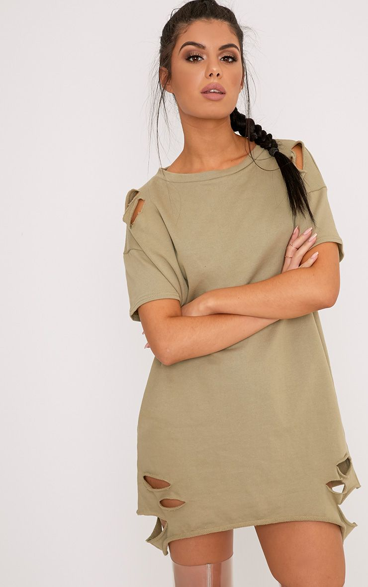 Orla Sage Green Distressed Short Sleeve Sweater Dress