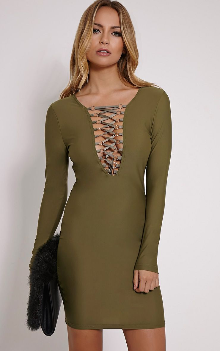 Eden Khaki Lace Up Front Mini Dress 1