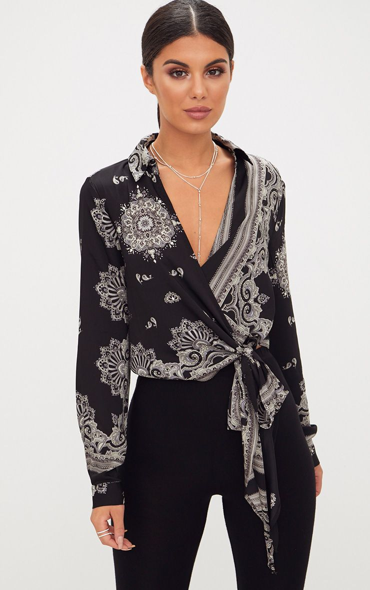 Black Satin Paisley Print Wrap Front Tie Side Blouse