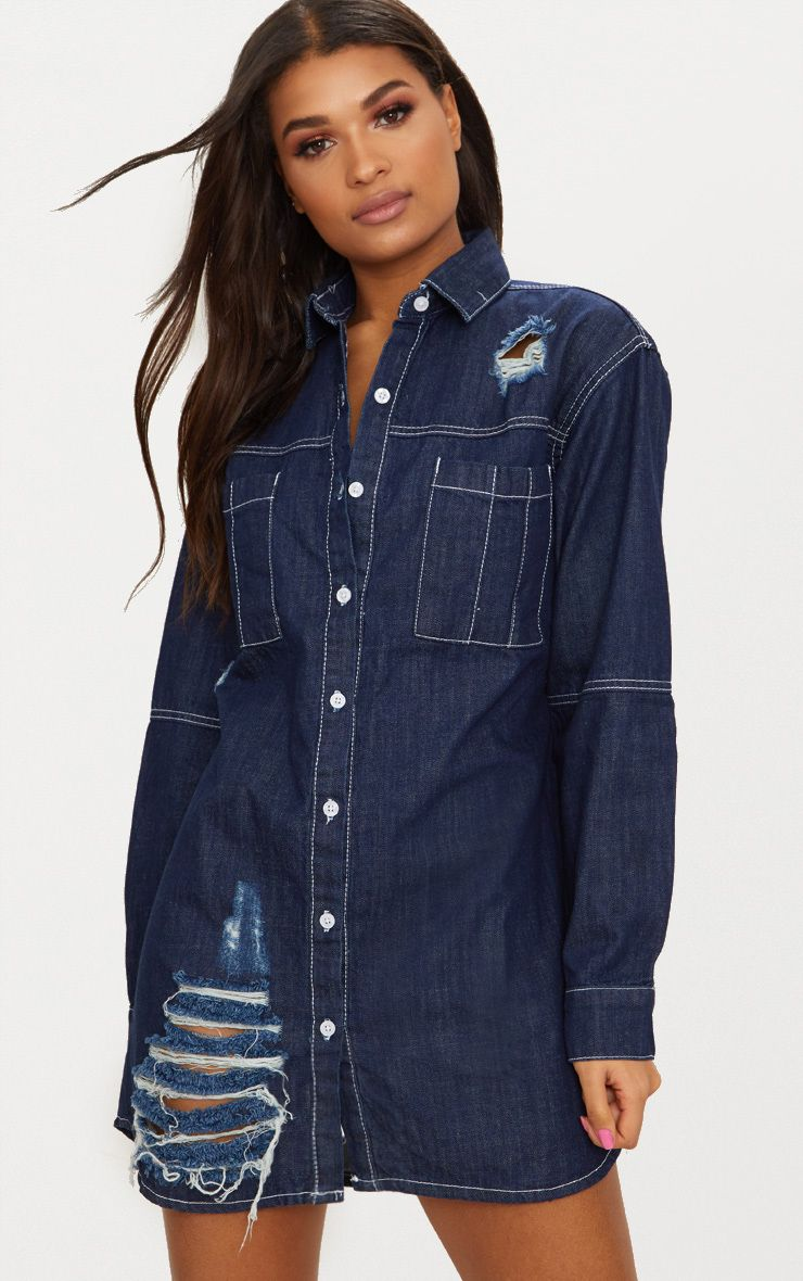 Indigo Contrast Stitch Denim Shirt Dress