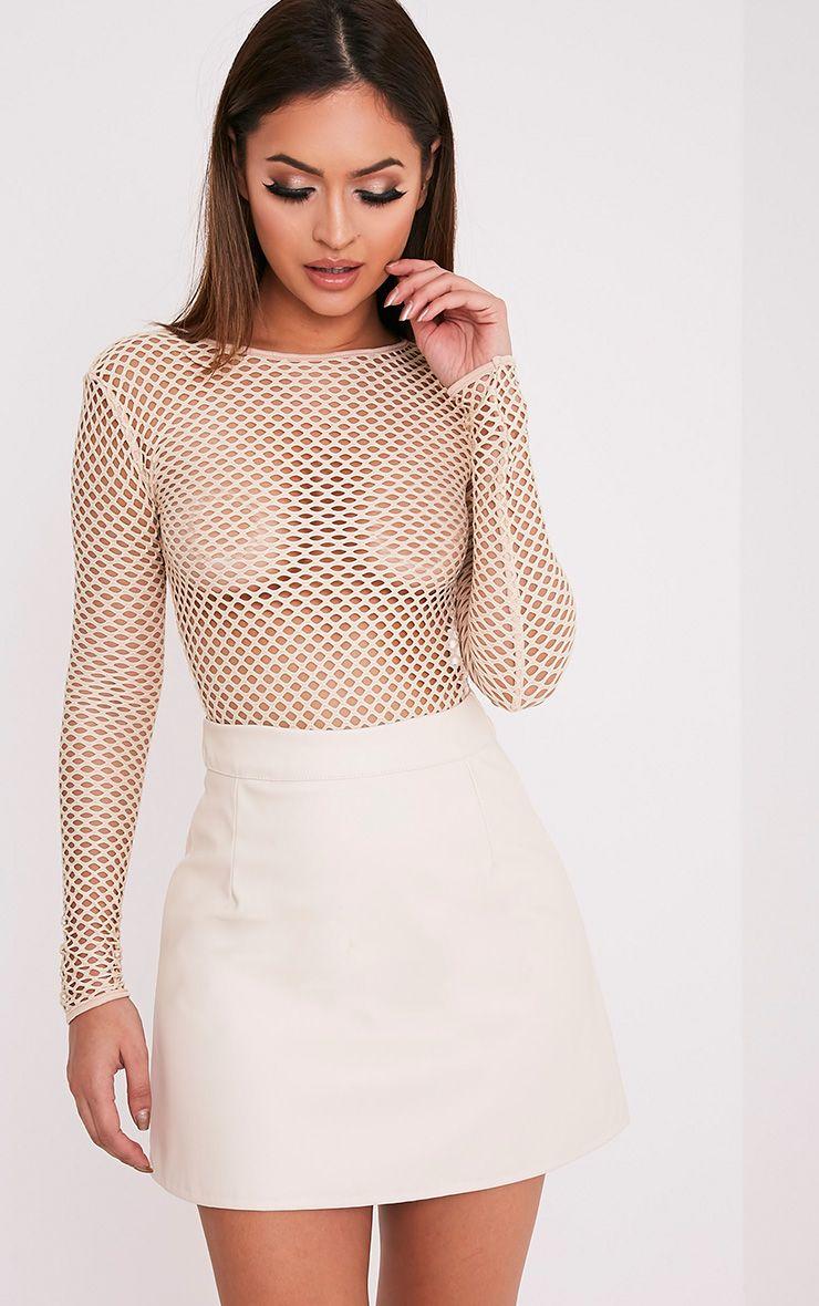 Rose Cream Faux Leather A-Line Mini Skirt