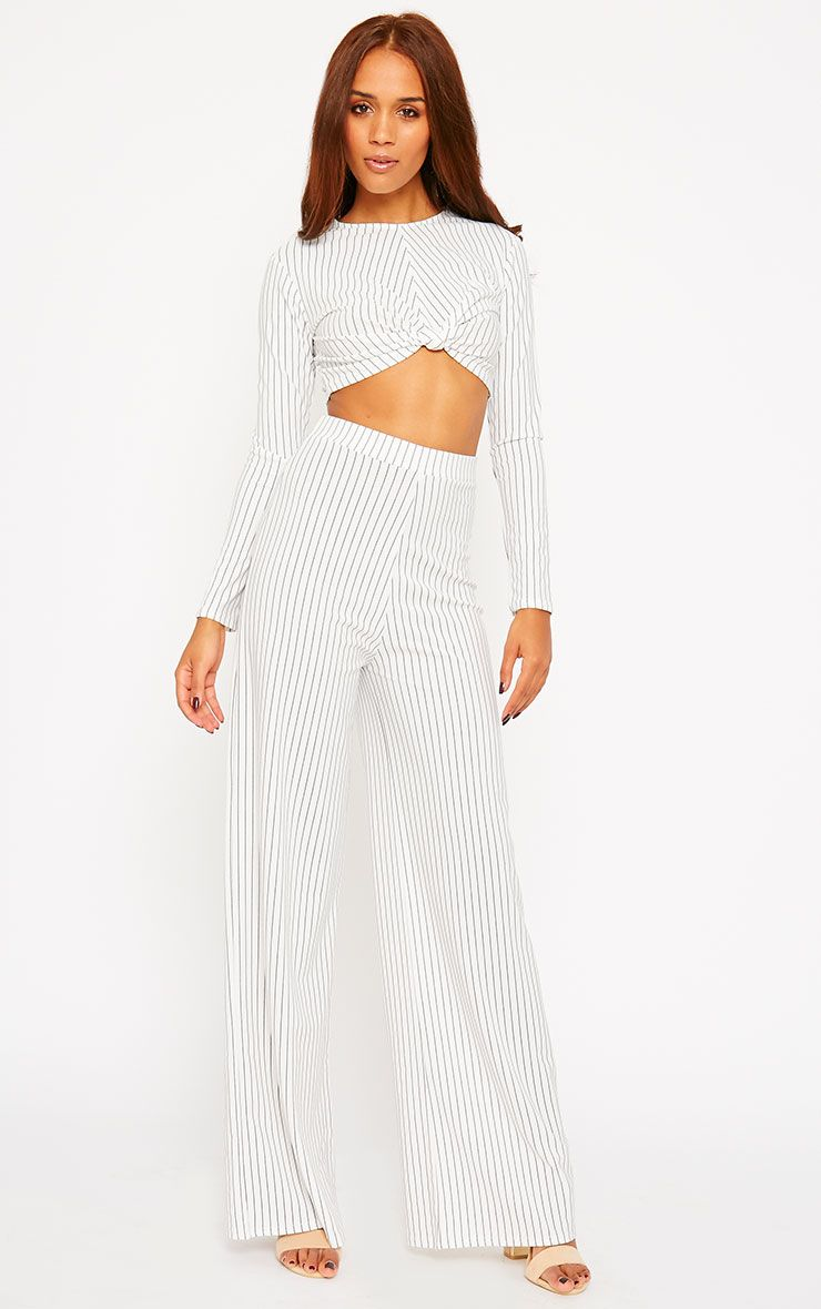 Zafia White Pinstripe Crepe Palazzo Trousers 1