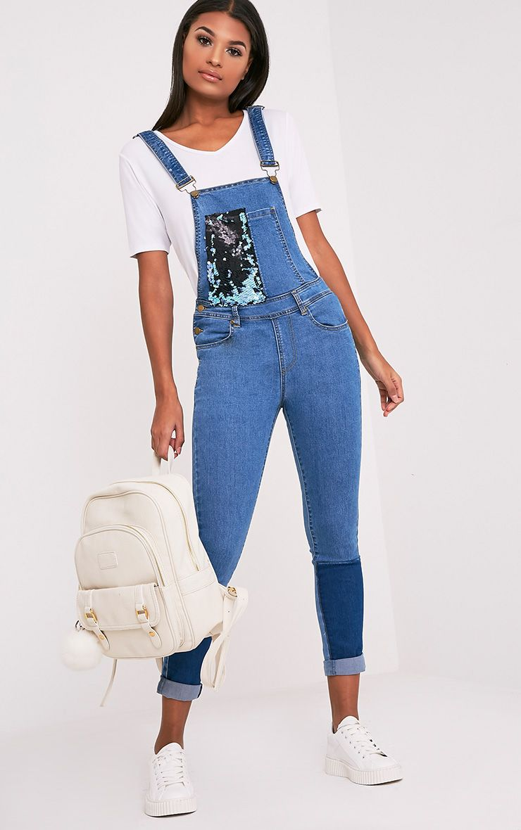 Aemelia Mid Wash Sequin Patch Work Dungaree