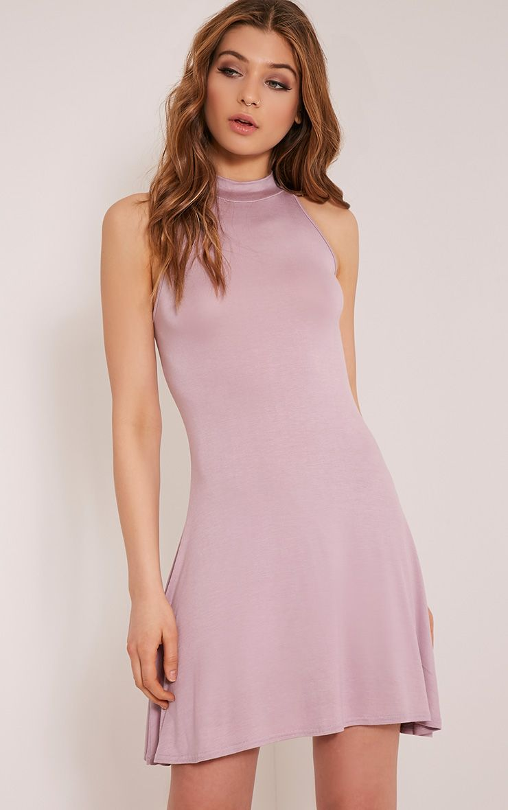 Basic Mauve High Neck Jersey Skater Dress 1
