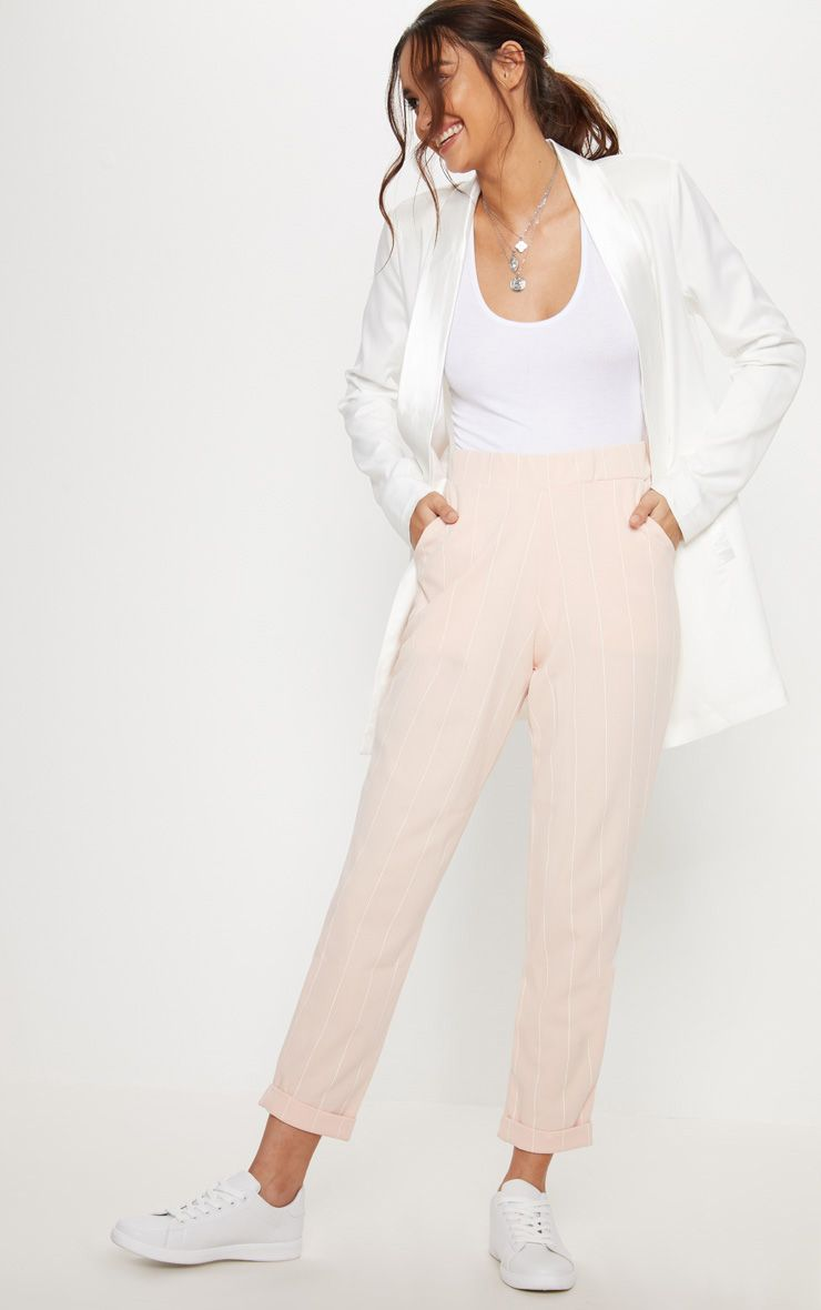 Nude Pinstripe Casual Trousers