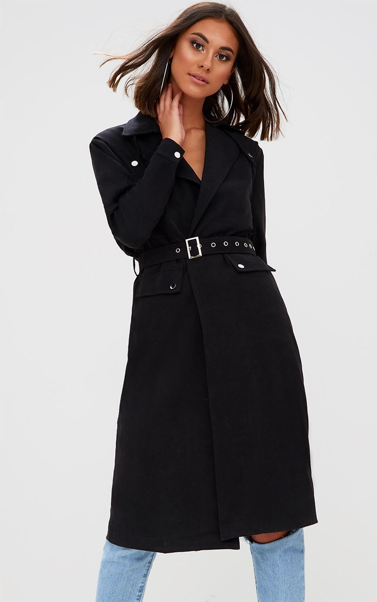Black Longline Belted Trench Coat