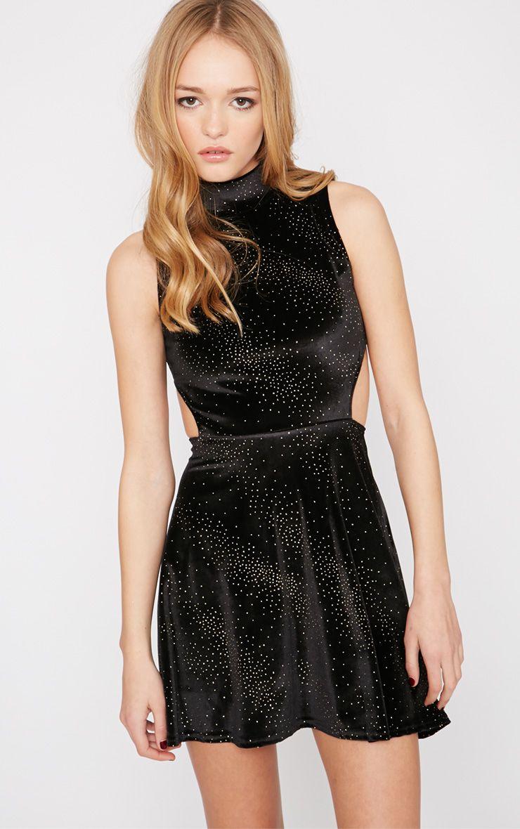 Maria Black and Gold Velvet Cut Out Skater Dress 1