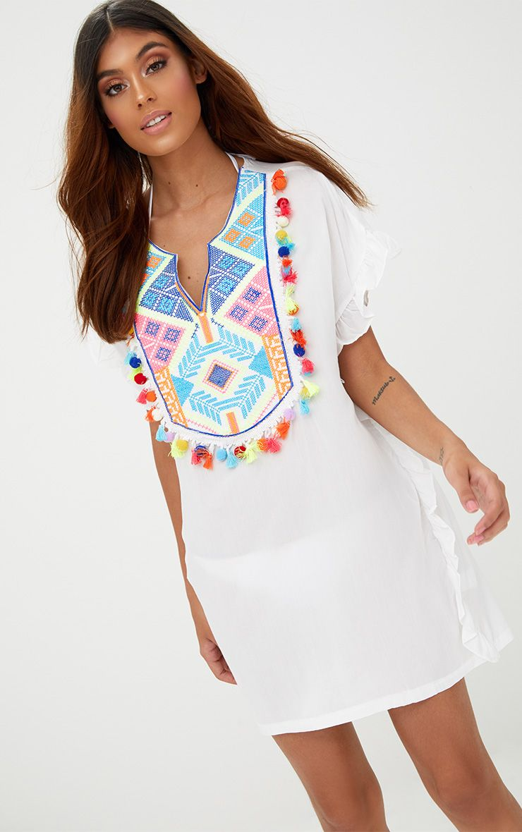 White Tassel Trim Frill Kaftan Dress