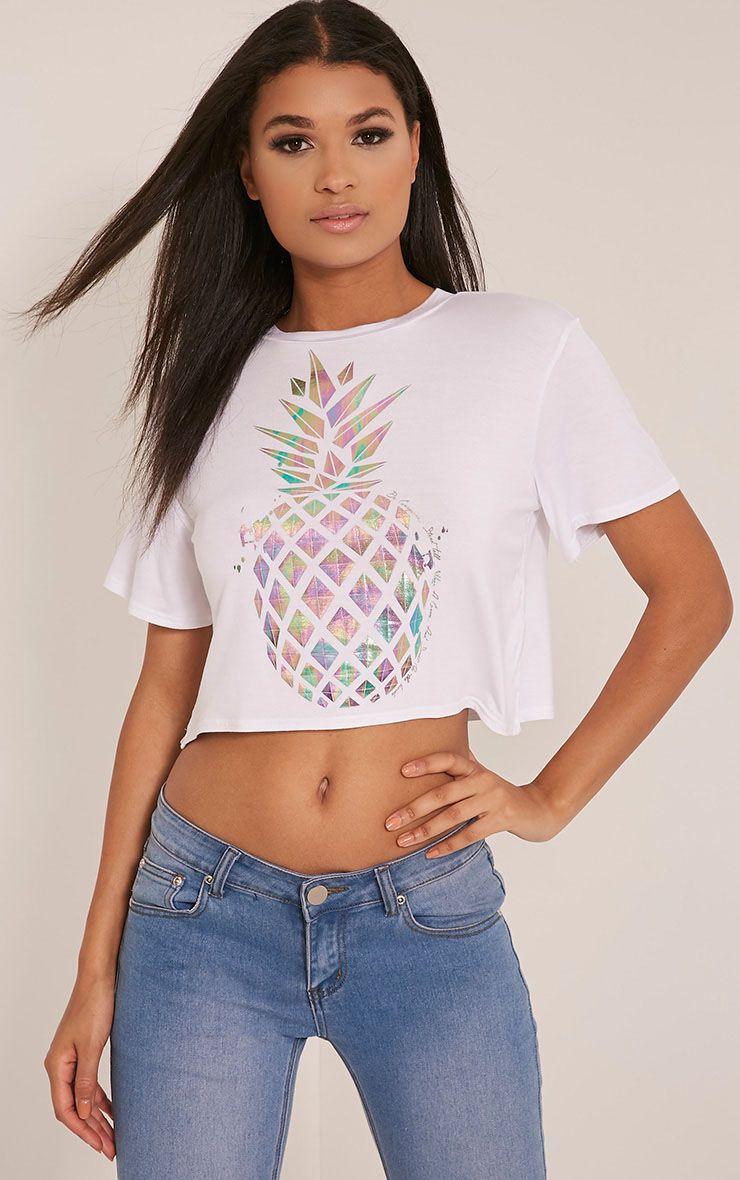 Pineapple White Metallic Print Cropped T Shirt 1
