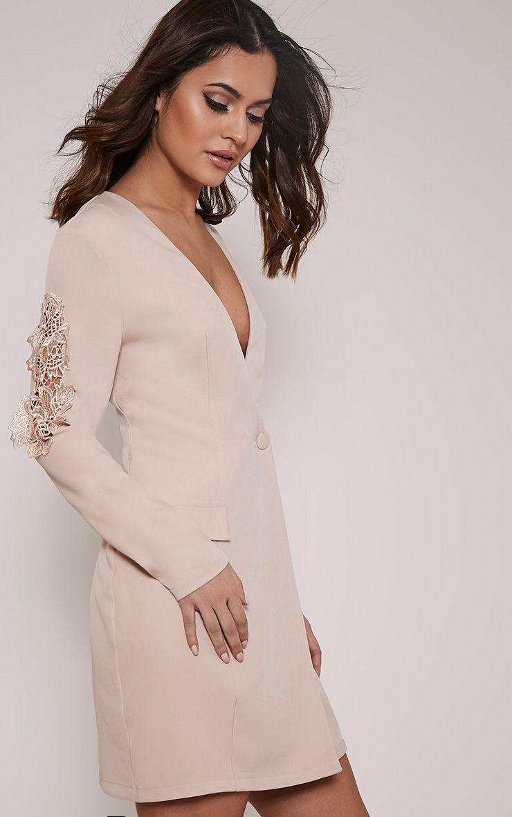 Sabella Nude Applique Detail Blazer Dress