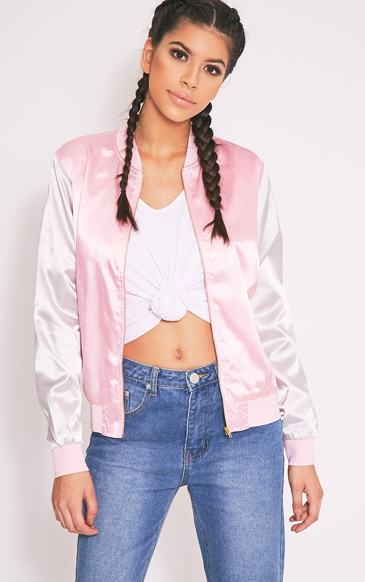 Chiara Pink Satin Contrast Sleeve Bomber Jacket 1