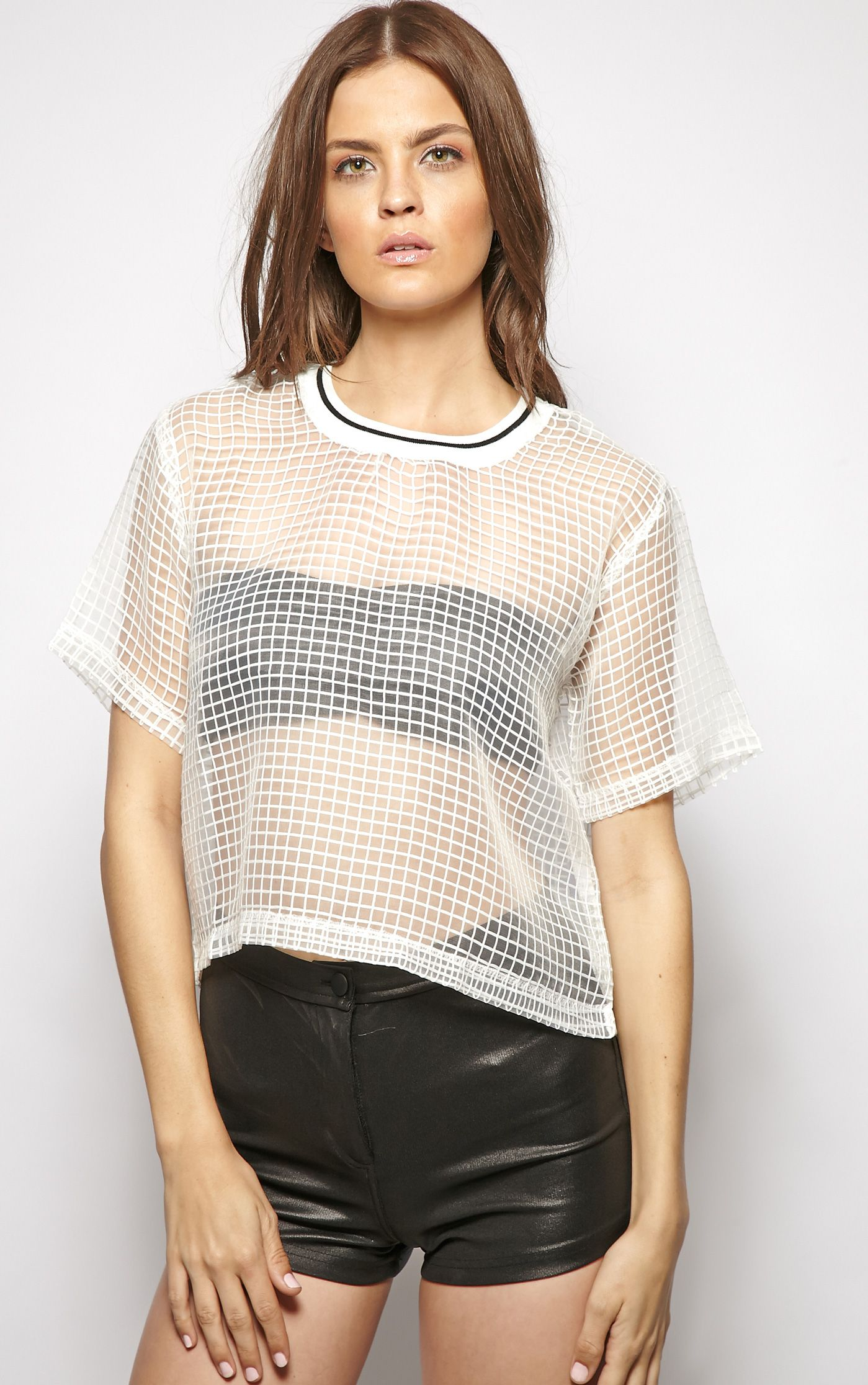 Christian White Square Sheer Crop Top  1
