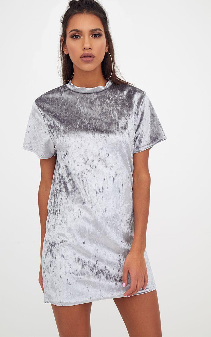Ice Grey Velvet T Shirt Dress