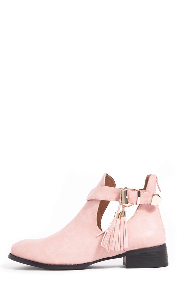 Chiara Pink Cut Out Ankle Boots 1