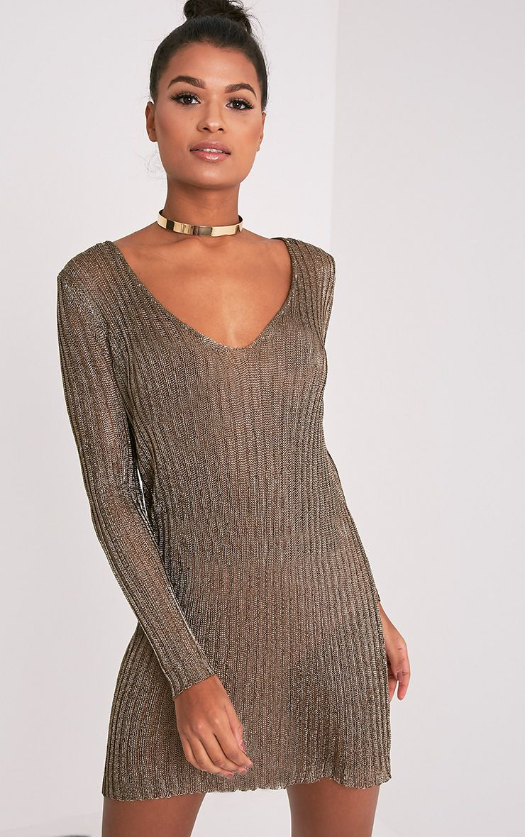 Abionae Metallic Gold Knit V Neck Jumper Dress