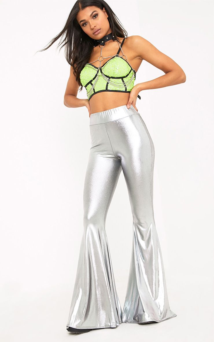 Mylene Silver Extreme Flare Trousers
